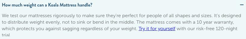 Koala Mattress Weight Limit
